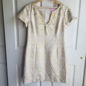 Lilly Pulitzer Gold Milannia Shift Dress Size 10